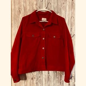 Christopher & Banks Red Suede Button Down Jacket